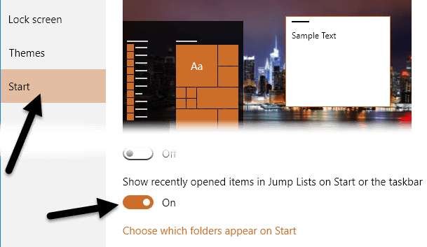 jump lists windows 10