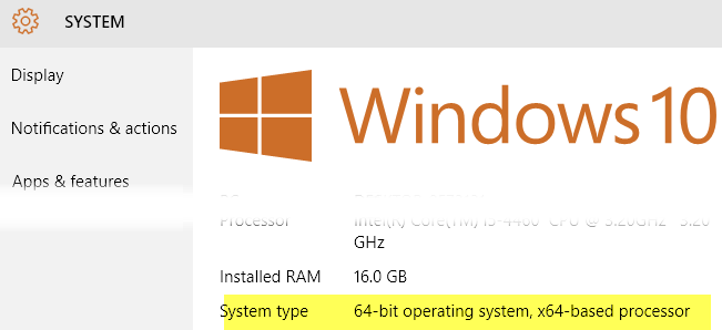 windows system type