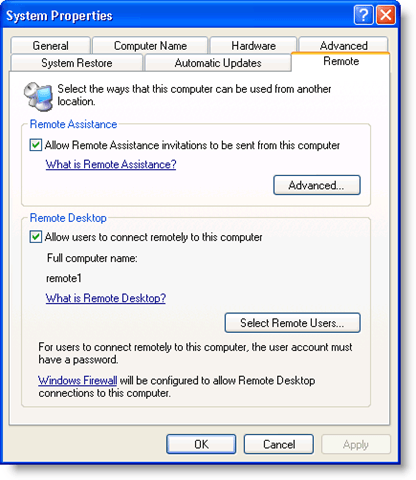 Remotely Accessing a Windows XP or Windows Server 2003 Computer