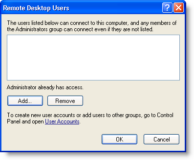 Remote Desktop Users dialog box
