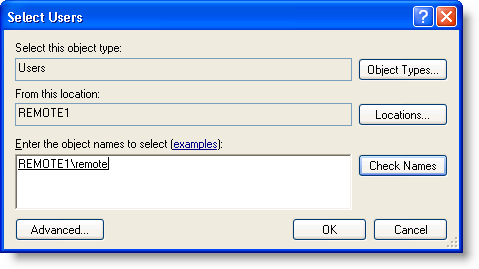 Select Users dialog box