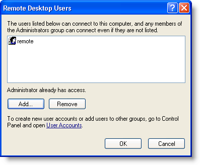 Remote Desktop Users dialog box with a user name