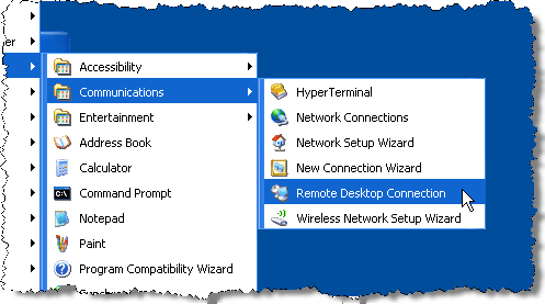 Selecting Remote Desktop Connection
