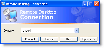 Remote Desktop Connection dialog box