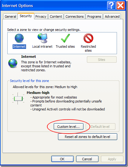 Custom Level Security in IE8