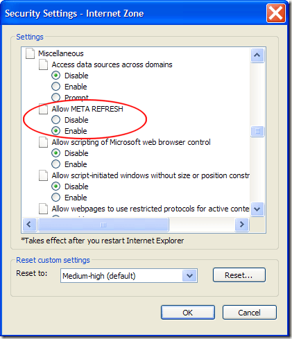 Disable Meta Refresh in IE8