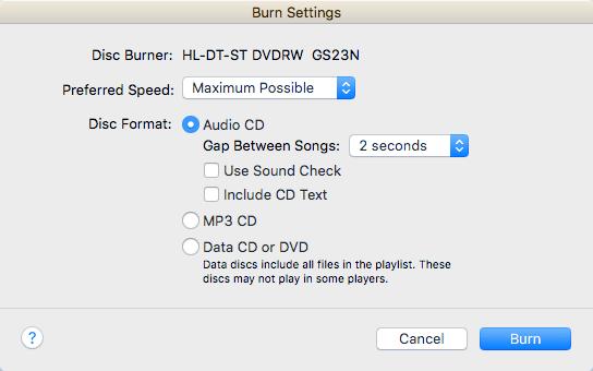 burn settings