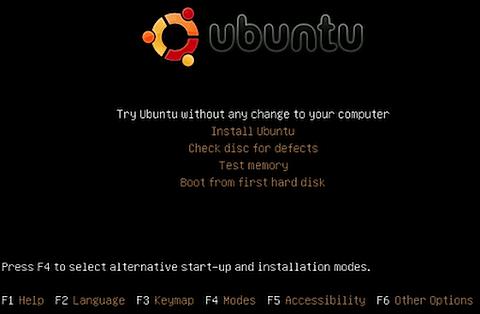 Ubuntu Linux Live CD main menu