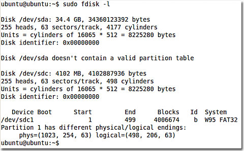 Fdisk to list all the drives.