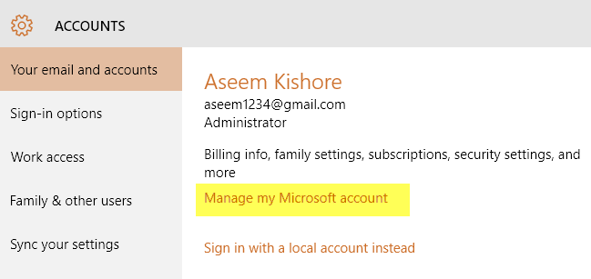 manage microsoft account