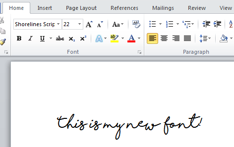 new font installed