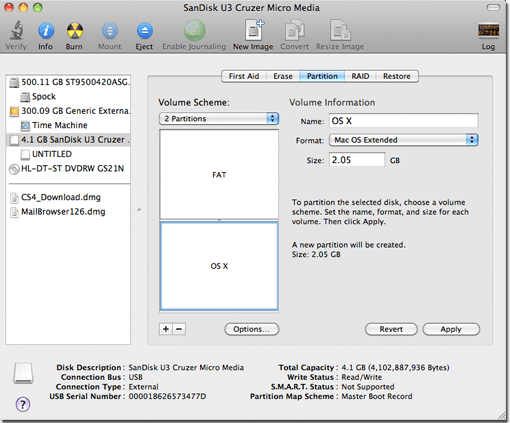 Size the partitions and choose the formats.