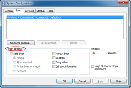 Boot Options on the System Configuration Boot Tab