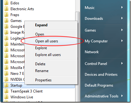 Click Open All Users on the Startup Folder