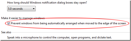Prevent Windows from Being Automatically Arranged When Moved to the Edge of the Screen