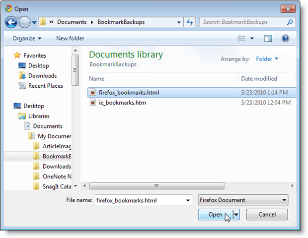 The bookmarks from firefox are imported into an imported folder under