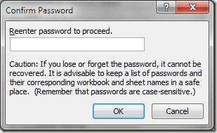 Xác nhận mật khẩu Excel bảo vệ tế bào