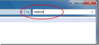 Type Restore in Control Panel