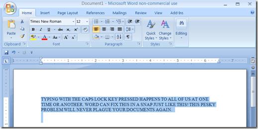 Activar el Bloqueo de mayúsculas Texto de vuelta a la Normalidad en MS Word