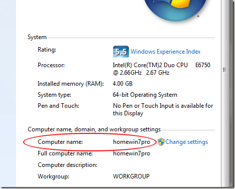 Windows 7 Computer Name