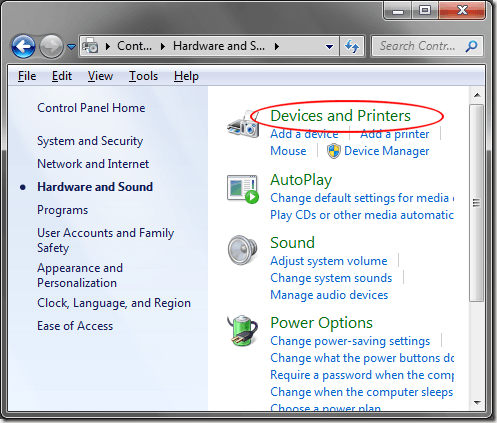Windows 7 Devices and Printers