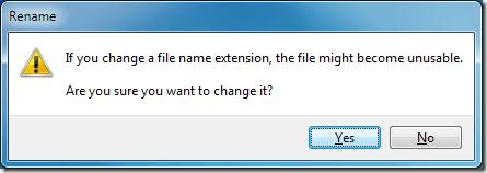 Windows 7 File Extension Renaming Warning
