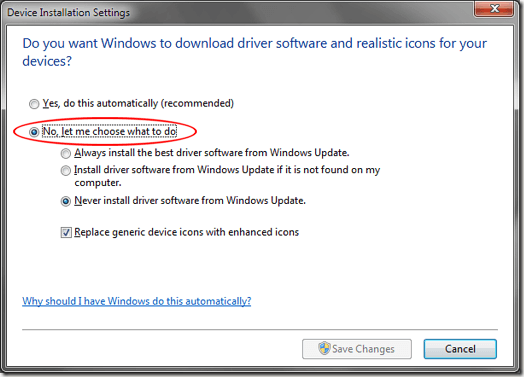 Stop Windows 7 from Automatically Installing Device Drivers