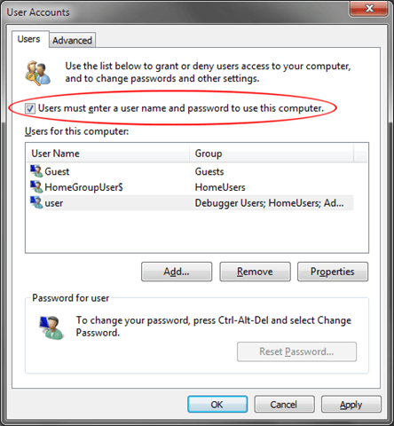 control userpasswords2 auto login