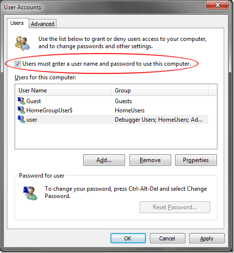 Windows 7 Users Must Enter a Username and Password
