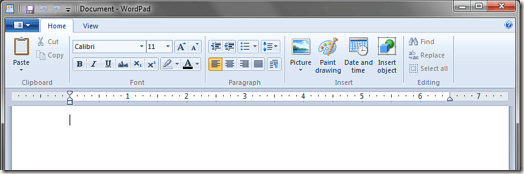 WordPad Ribbon Windows 7