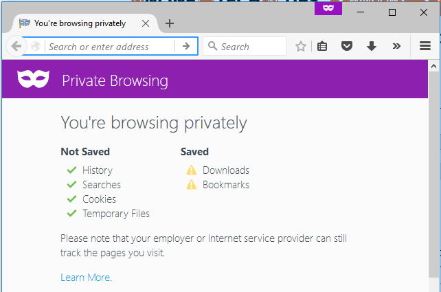 private browsing enabled