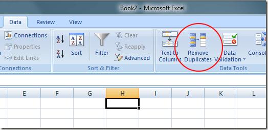Click on Remove Duplicates Button