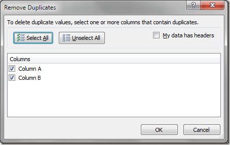 Excel Delete Duplicate Records Options