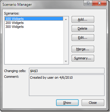 Excel What-If Analysis Final Scenario Manager Window