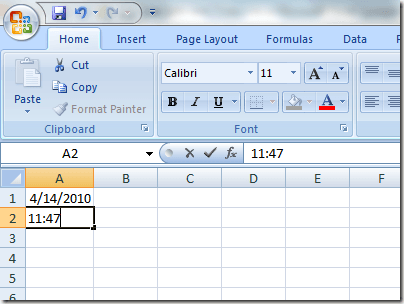 Insert Current Time into Excel
