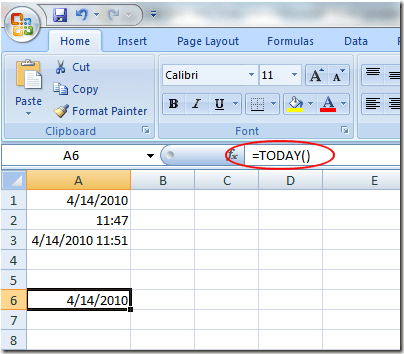 Insert a Dynamic Date into Excel