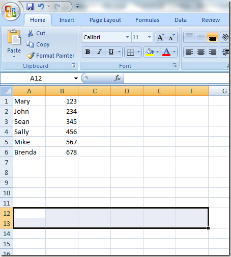 Select Area to Transpose Data