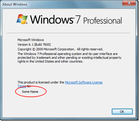 The New Registered Name in Windows 7