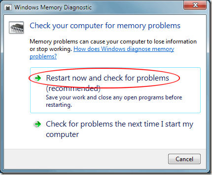 Windows 7 Restart Now and Check for Problems