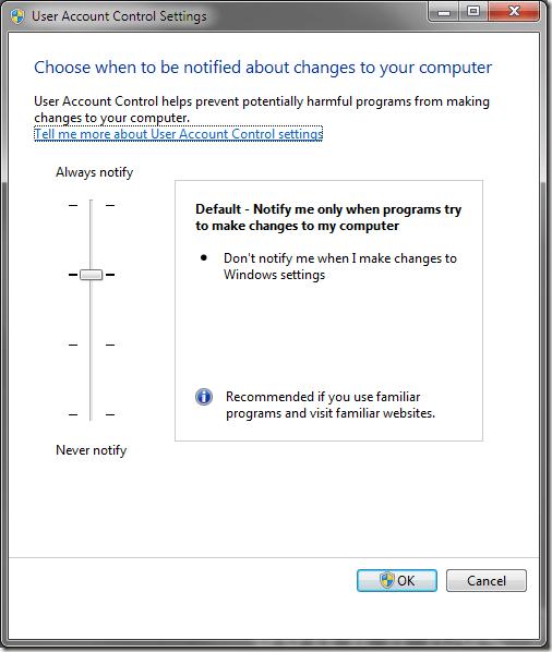 Windows 7 User Account Control (UAC) Settings