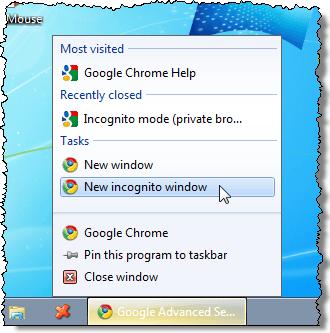 la Apertura de una nueva ventana de Incógnito de Chrome en la barra de tareas