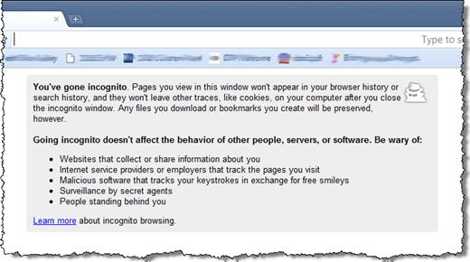 Incógnito de Chrome notificación