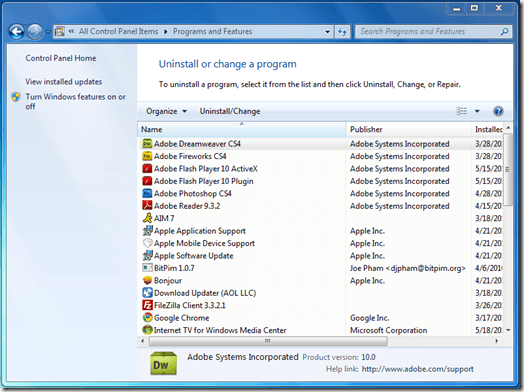 Programs and Features Window