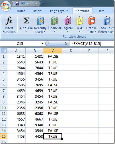 True y False Valores en Excel la Función Exacta
