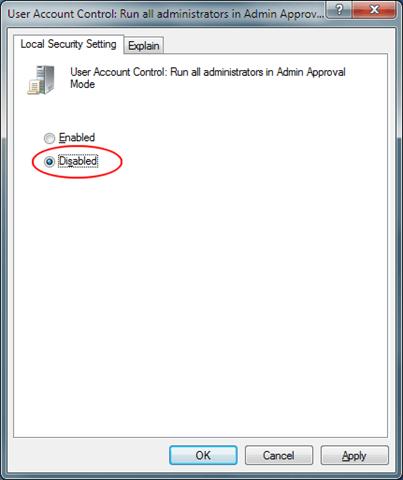Turn Off Admin Approval Mode in Windows 7