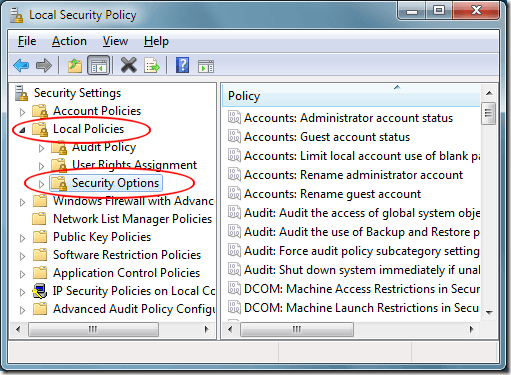 Windows 7 Local Policies Security Options