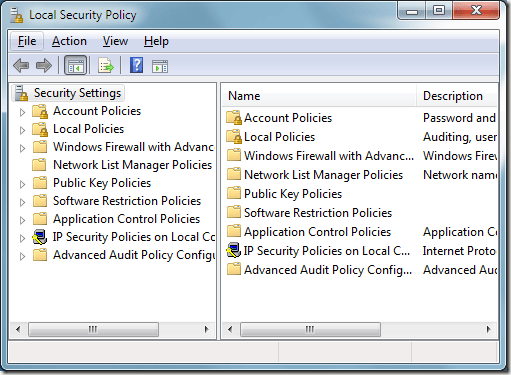 Windows 7 Local Security Policy