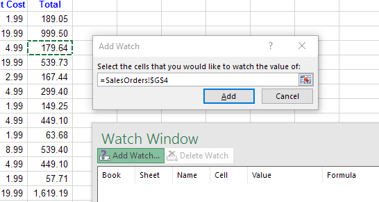 Use the Excel Watch Window to Monitor Important Cells in a Workbook