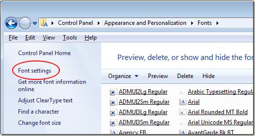 haga Clic en Configuración de Fuente