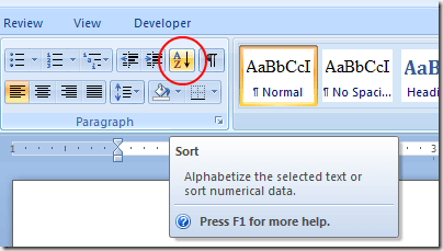 Click the Sort Button in Word